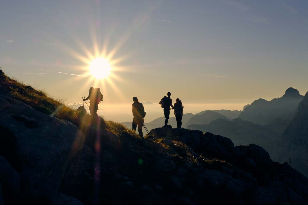 Hikers viewing the sunrise