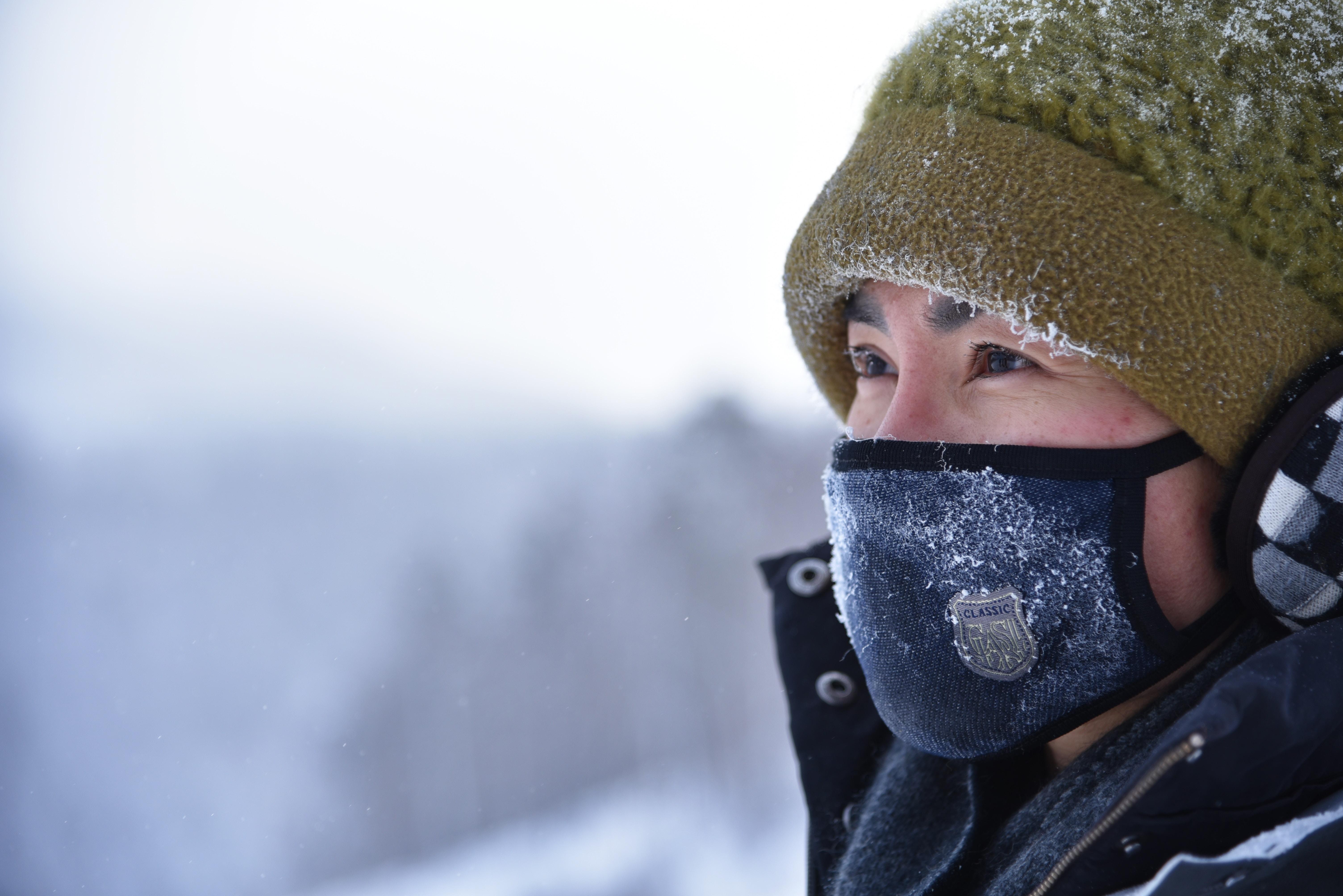 hiker wearing a mask