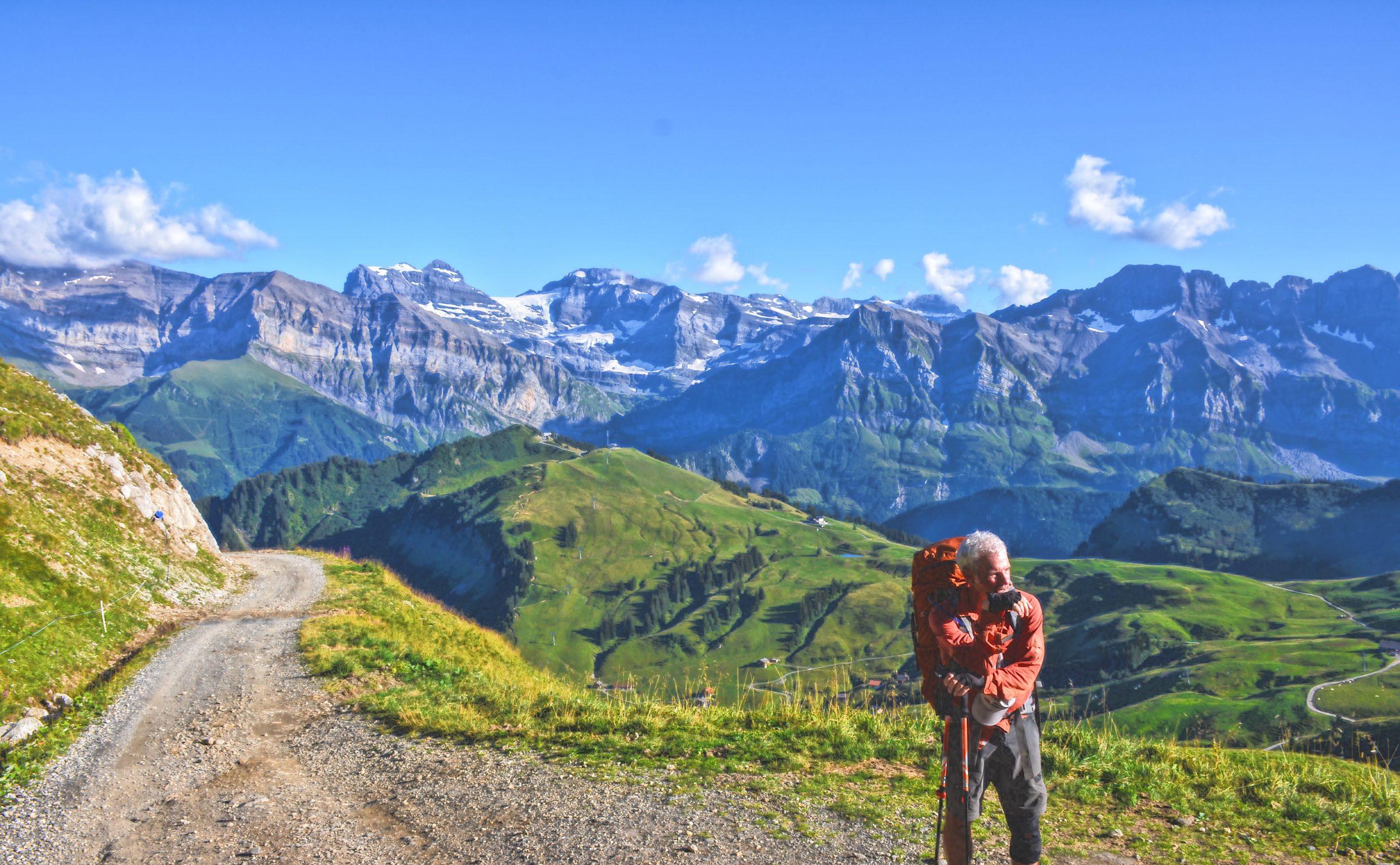 backpacker in the swiss alps